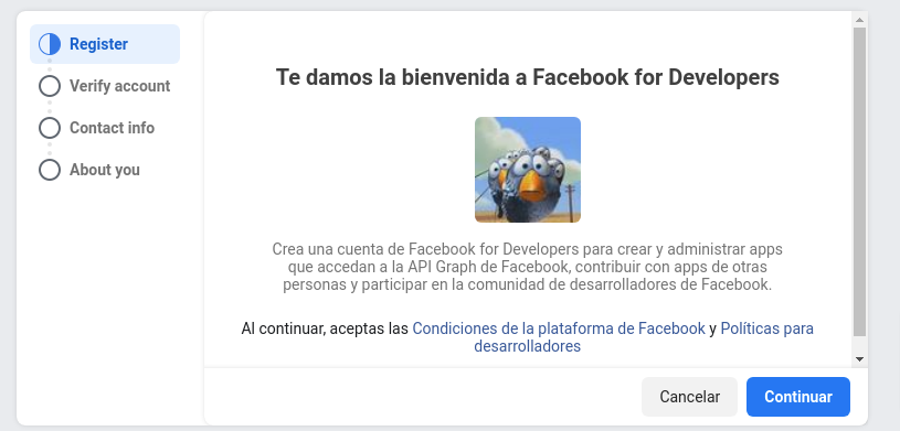 Registro en facebook for developers